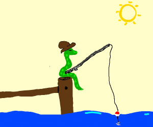 snake goes fishing