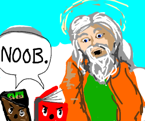 """a wallet & book suprise a god by saying """"NOOB"""