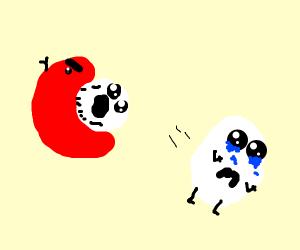 Tomato eating an egg, friend egg is sad