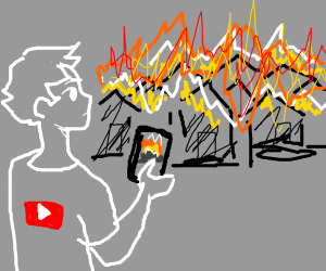 A YouTuber films a village burn