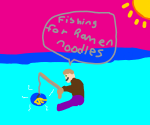 guy fishing for ramen noodles