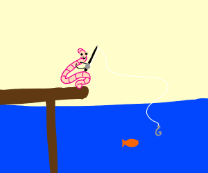 Worm fishing at sea