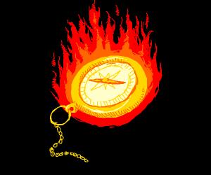 A gold compass is in flames