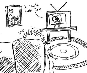 jon watching garfield on tv
