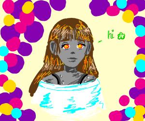 Anime cyborg girl saying hi