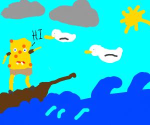 spongebob goes sailing, greets some seagulls