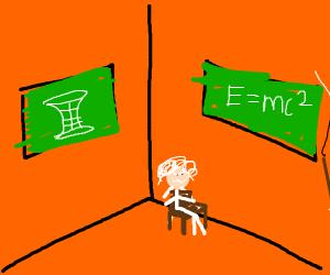 Albert Einstein sits in a corner