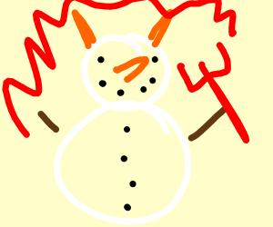 Snow bunny (snowman with carrot bunny ears)