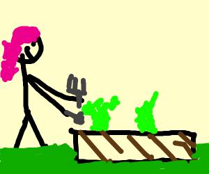 A girl Gardening