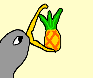 Pelican eating a Pineapple