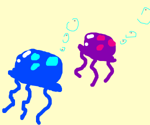 Blue and purple jellyfish
