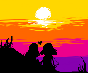 Couple watching sunset