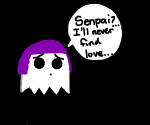 Purple haired ghost can't find love.