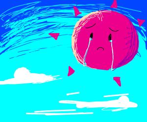 very sad pink sun