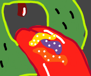 Pepe eats sour worms