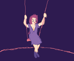 Girl on a Swing at Night