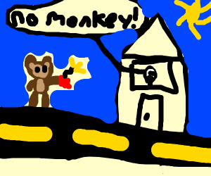 A monkey blows up a house