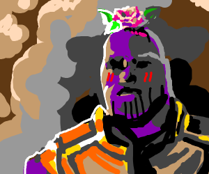 Blushy Thanos with a flower on his head