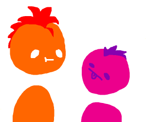 pink and orange stare at each other