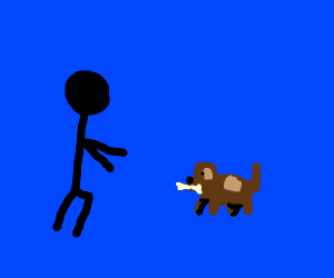 Small brown dog fetched you a bone!