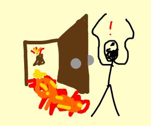 Lava flows through door towards man