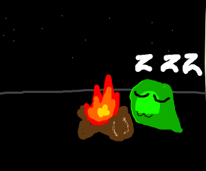 green slime sleeping by campfire