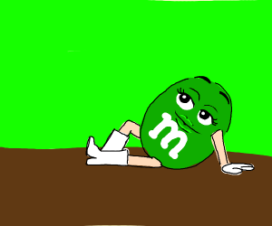 Green M&M lookin' sassy