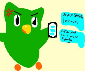 Duolingo Owl sends threatening text
