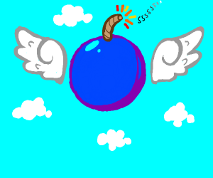 A blue bomb with wings