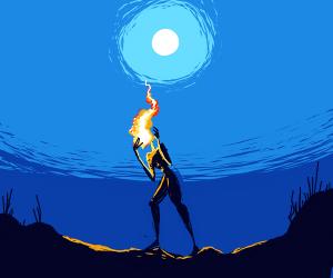 a fire spirit at night