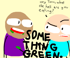Man eating something green