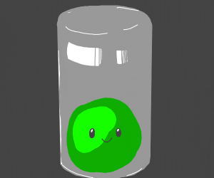 Smiling green ball in glass cup