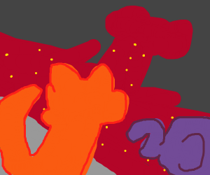 a fox and a small elefant surronded by lava
