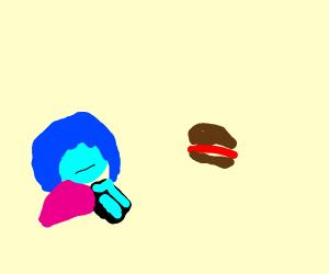 blue man wants yum yum burger