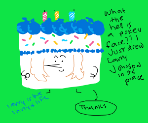 Cake man says thanks with poker face