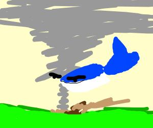 Whale in tornado