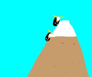 penguins slidin down from mountain