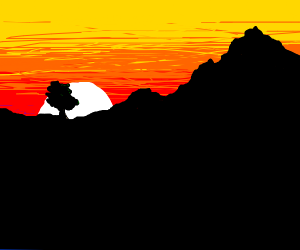 Sunset over a mountain!