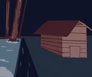a menacing old house with geysers of darkness