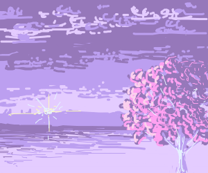 Flower Tree beside the Ocean
