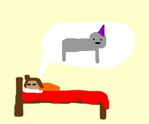 Little child dreams of Unicorn