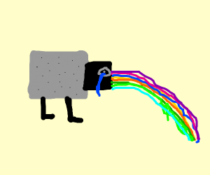 Sad rainbow puking nyam cat