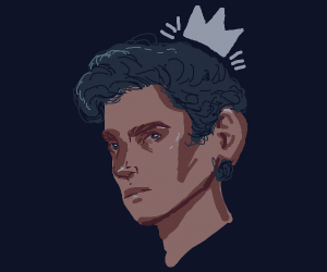 man with blue hair and crown