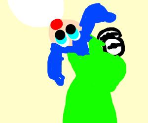 green kermit monster eating anime girl
