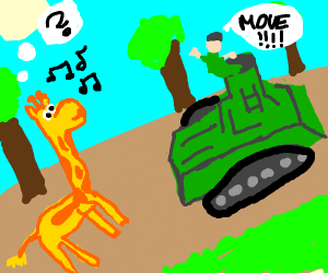 Military Tank doesn't notice the giraffe...