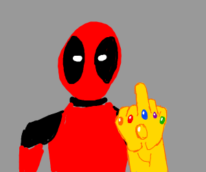 Deadpool with the infinity gauntlet