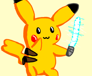 Female pikachu with a lightsaber