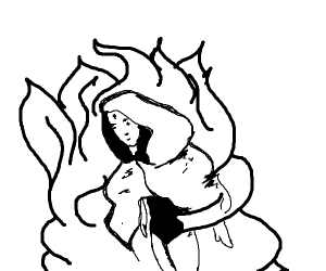 Raven cloaked in flames