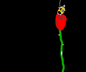 A bumble bee chillin on a red rose