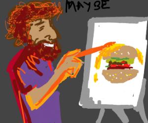 Bob ross painting a burger